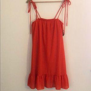 Ces Femme Orange Ruffle Tie Dress